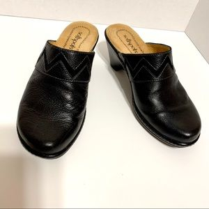Black Softspots Leather Mules-Comfort Meets Style